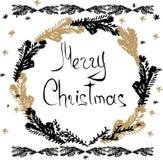 Tarjetas dibujadas mano de la Navidad Imagenes de archivo
