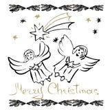 Tarjetas dibujadas mano de la Navidad Fotografía de archivo