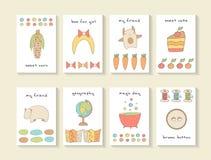 Tarjetas dibujadas mano linda de la fiesta de bienvenida al bebé del garabato, folletos Fotografía de archivo libre de regalías