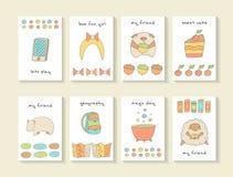 Tarjetas dibujadas mano linda de la fiesta de bienvenida al bebé del garabato, folletos Foto de archivo