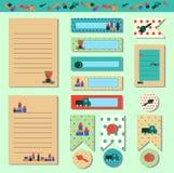 Tarjetas dulces, notas, etiquetas engomadas, etiquetas, etiquetas con el oso de peluche de los ejemplos y juguetes del bebé en es stock de ilustración
