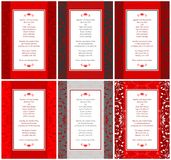 6 tarjetas elegantes de las invitaciones de la boda Imágenes de archivo libres de regalías