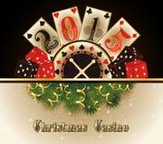 Tarjetas felices de 2015 años del casino de la Navidad nuevas Imagenes de archivo
