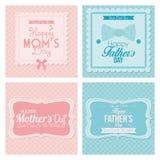 Tarjetas felices de la plantilla del día del padre y de madre Imagen de archivo libre de regalías
