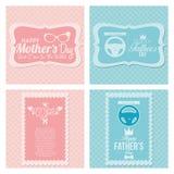 Tarjetas felices de la plantilla del día del padre y de madre Imagenes de archivo