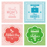 Tarjetas felices de la plantilla del día del padre y de madre Foto de archivo libre de regalías