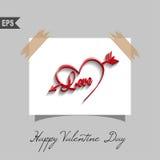 Tarjetas felices del día de tarjetas del día de San Valentín con el corazón encendido Imagen de archivo