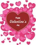 Tarjetas felices del día de tarjetas del día de San Valentín con los corazones Fotos de archivo libres de regalías
