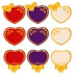 Tarjetas felices del día de tarjetas del día de San Valentín con los corazones Foto de archivo libre de regalías