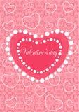 Tarjetas felices del día de tarjetas del día de San Valentín con los ornamentos, corazones  Fotografía de archivo
