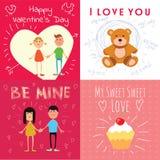Tarjetas felices del día de tarjetas del día de San Valentín con los pares de la historieta Foto de archivo libre de regalías