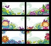 Tarjetas florales coloridas Fotos de archivo