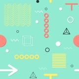 Tarjetas geométricas de moda de Memphis de los elementos, modelo inconsútil Textura retra del estilo Cartel abstracto moderno del Fotos de archivo