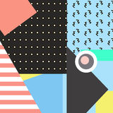 Tarjetas geométricas de moda de Memphis de los elementos Textura retra del estilo, modelo y elementos geométricos Cartel abstract Fotos de archivo libres de regalías