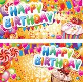 Tarjetas horizontales del feliz cumpleaños ilustración del vector