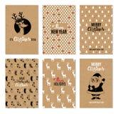 Tarjetas imprimibles dibujadas mano del vector de la Navidad foto de archivo libre de regalías