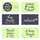Tarjetas, insignias para el negocio amistoso del eco local Foto de archivo