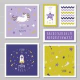 Tarjetas lindas con unicornio y las estrellas del brillo del oro Para la invitación del cumpleaños, fiesta de bienvenida al bebé, stock de ilustración