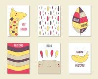 Tarjetas lindas del garabato, folletos stock de ilustración