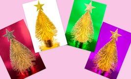 Tarjetas metálicas brillantes del árbol de navidad Imágenes de archivo libres de regalías
