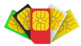 Tarjetas multicoloras de SIM
