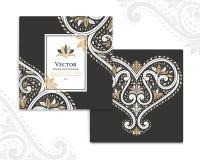 Tarjetas negras de la invitación con el corazón ornamental stock de ilustración