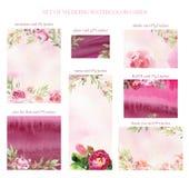 Tarjetas pintadas a mano de la invitación de la boda de la acuarela libre illustration