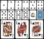 Tarjetas que juegan clásicas - clubs stock de ilustración