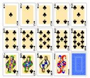 Tarjetas que juegan - clubs Imagen de archivo libre de regalías