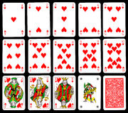 Tarjetas que juegan - corazones Fotos de archivo
