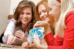 Tarjetas que juegan de las muchachas Fotografía de archivo