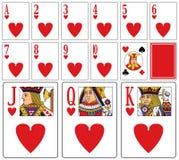 Tarjetas que juegan del casino - corazones Imágenes de archivo libres de regalías