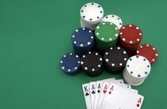 Tarjetas que juegan del póker Fotografía de archivo libre de regalías