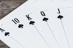 Tarjetas que juegan del póker Fotos de archivo libres de regalías