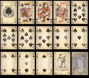 Tarjetas que juegan del póker viejo - espadas Fotografía de archivo libre de regalías