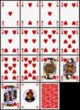 Tarjetas que juegan - el juego de los corazones Imágenes de archivo libres de regalías