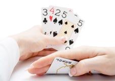 Tarjetas que juegan - póker derecho con el bromista Imagen de archivo libre de regalías