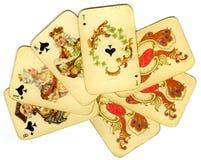 Tarjetas que juegan viejas Imágenes de archivo libres de regalías