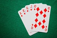 Tarjetas reales del póker del rubor recto Fotos de archivo libres de regalías