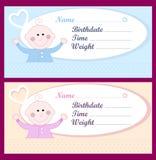 Tarjetas recién nacidas del bebé Fotografía de archivo libre de regalías
