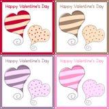Tarjetas retras del día de tarjetas del día de San Valentín Foto de archivo libre de regalías