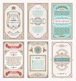 Tarjetas retras determinadas del vintage Invitación de la boda de la tarjeta de felicitación de la plantilla Línea marcos caligrá Foto de archivo libre de regalías