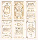 Tarjetas retras determinadas del vintage Invitación de la boda de la tarjeta de felicitación de la plantilla Línea marcos caligrá Fotos de archivo