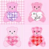 Tarjetas rosadas de los osos de peluche Foto de archivo