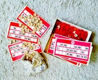 Tarjetas rusas de la loteria del juego con números foto de archivo libre de regalías