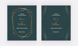 Tarjetas verdes de la invitaci?n que se casan con el marco poligonal de oro y las l?neas geom?tricas Plantillas de moda para la b stock de ilustración