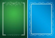 Tarjetas verdes y azules con los marcos blancos Fotos de archivo libres de regalías