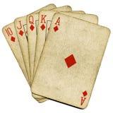 Tarjetas viejas del póker de la vendimia del rubor real. Fotografía de archivo