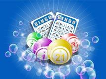 Tarjetas y bolas del bingo Fotos de archivo libres de regalías
