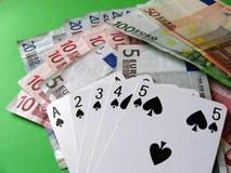 Tarjetas y dinero Fotografía de archivo